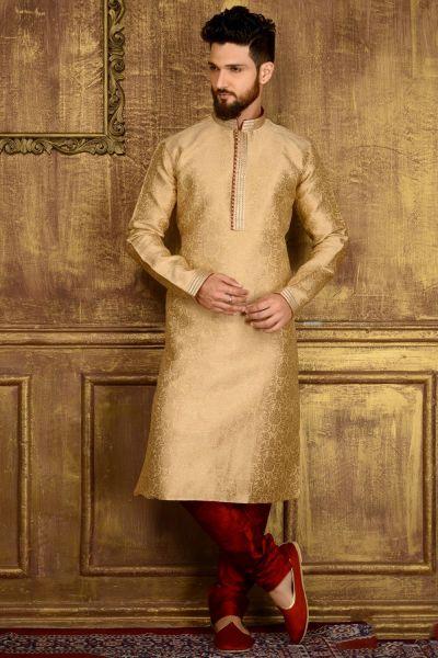 Gold Jaquard Silk Brocade Mens Kurta (NMK-3552)