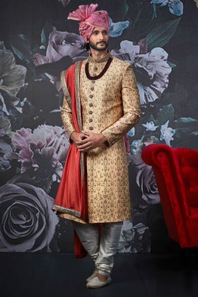 Gold Jaquard Silk Brocade Sherwani (NMK-4545)