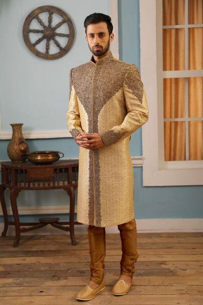 Gold Jaquard Silk Brocade Wedding Sherwani (NMK-4162)