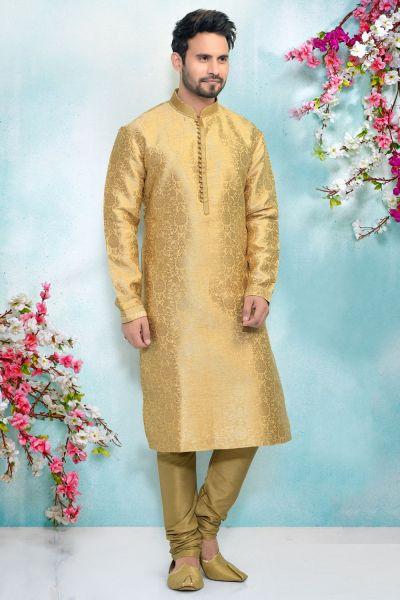 Gold Jaquard Silk Mens Kurta Pajama (NMK-4908)