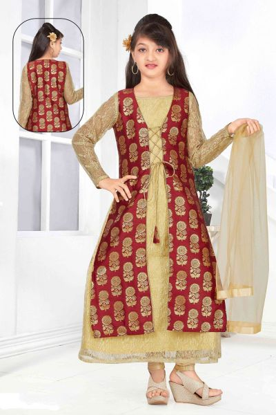 Gold, Maroon Net, Jaquard Girls Salwar Kameez (NFG-144)