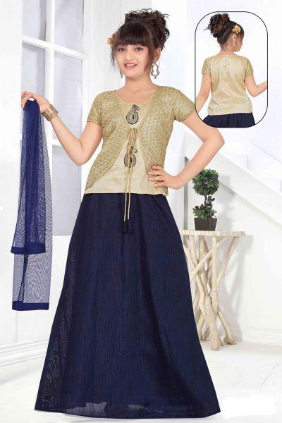 Gold Net, Art Silk Girls Lehenga Choli (NFG-149)