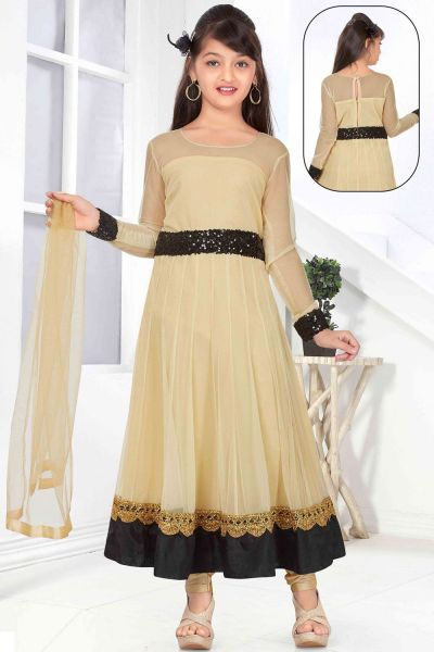 Gold Net Girls Salwar Kameez (NFG-147)