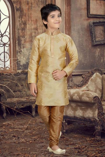 Gold Printed Silk Boys Kurta Pajama (NKK-617)