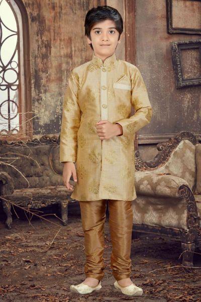 Gold Printed Silk Kids Kurta Pajama (NKK-611)