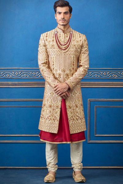 Gold Pure Silk Mens Sherwani (NMK-4708)