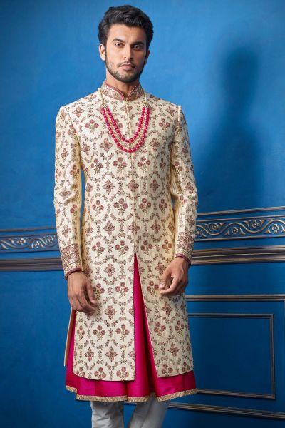 Gold Pure Silk Mens Wedding Sherwani (NMK-4709)