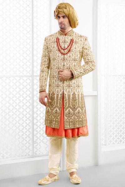 Gold Pure Silk Sherwani with Anarkali Kurta (NMK-4690)