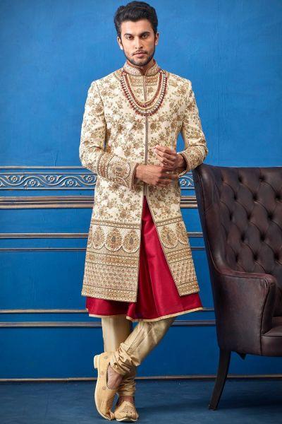 Gold Pure Silk Sherwani with Anarkali Kurta (NMK-4714)