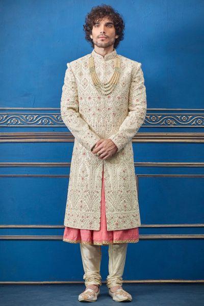 Gold Pure Silk Sherwani with Anarkali Kurta (NMK-4717)
