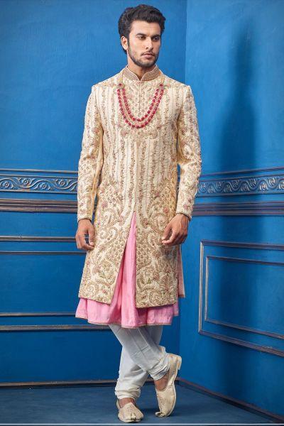 Gold Pure Silk Sherwani with Anarkali Kurta (NMK-4722)