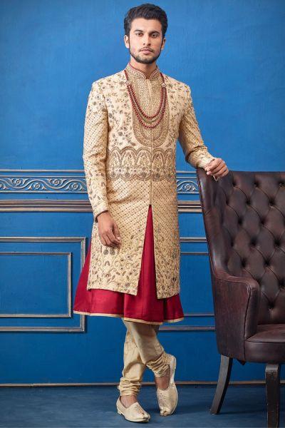 Gold Pure Silk Sherwani with Anarkali Kurta (NMK-4728)