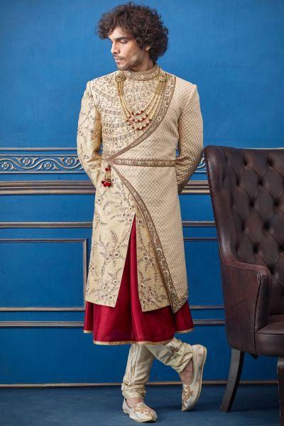 Gold Pure Silk Sherwani with Anarkali Kurta (NMK-4729)