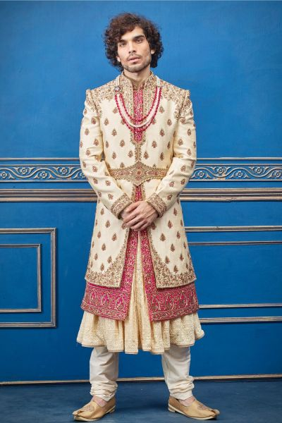 Gold Pure Silk Sherwani with Anarkali Kurta (NMK-4738)