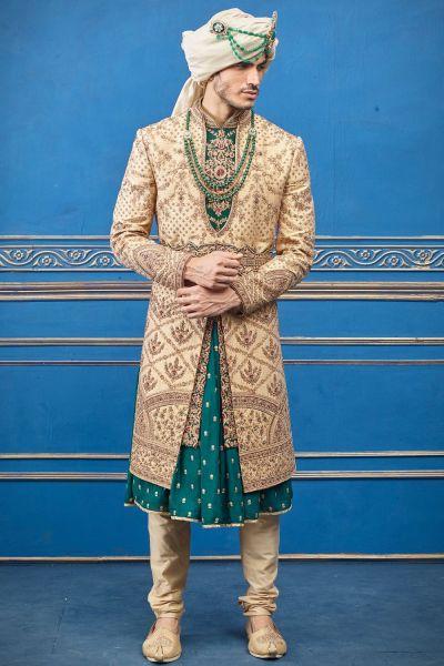 Gold Pure Silk Sherwani with Anarkali Kurta (NMK-4739)
