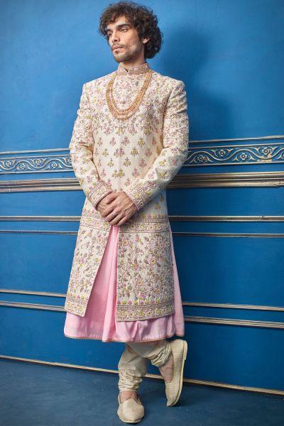 Gold Pure Silk Sherwani with Anarkali Kurta (NMK-4742)