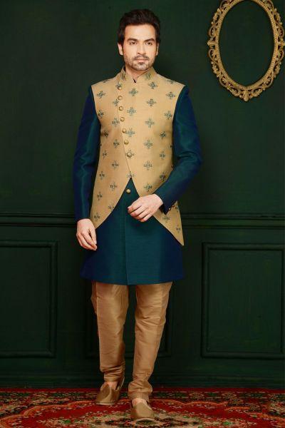 Gold, Rama Green Art Banarasi Silk Indo Western (NMK-3658)