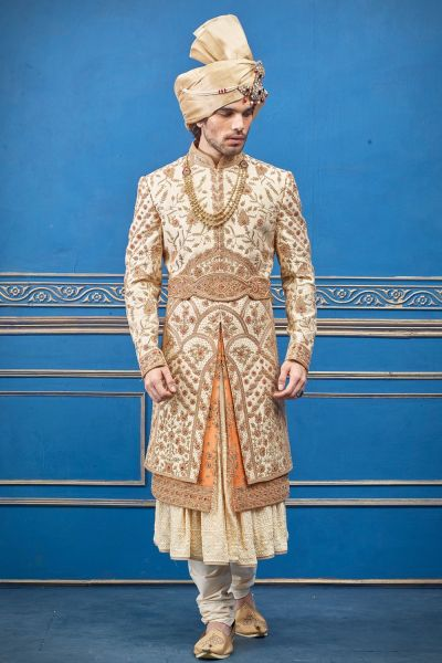 Gold, Rust Pure Silk Sherwani with Anarkali Kurta (NMK-4743)