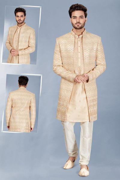 Gold Silk Indowestern with kurta (NMK-5109)