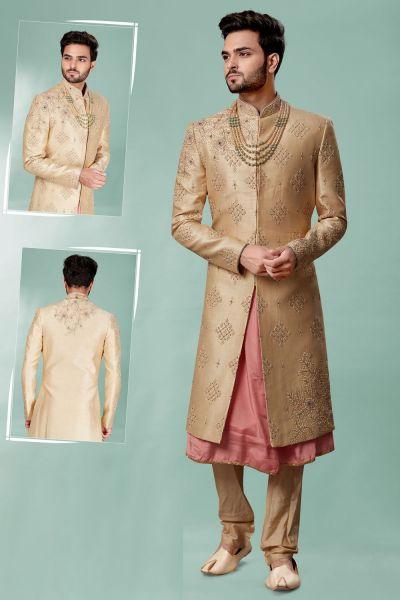Gold Silk Wedding Sherwani (NMK-5118)