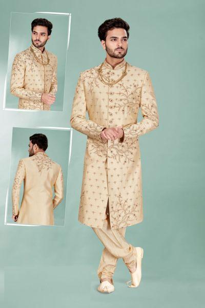 Gold Silk Wedding Sherwani (NMK-5119)