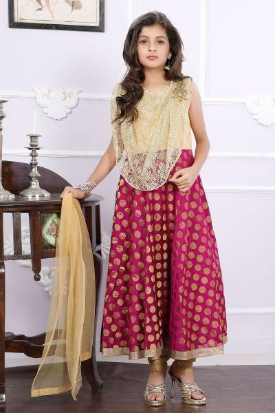 Golden, Magenta Net, Brocade Girls Anarkali Dress (NFG-173)