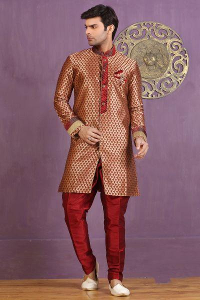 Golden, Maroon Jaquard Silk Brocade Indo Western (NMK-3258)