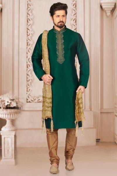 Green Art Banarasi Silk Casual Kurta Pajama (NMK-3995)