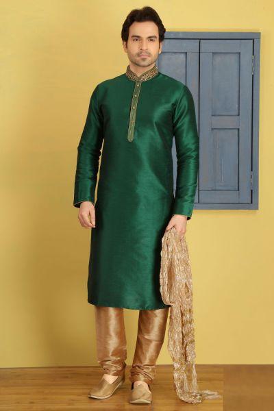 Green Art Banarasi Silk Designer Kurta Pajama (NMK-3681)