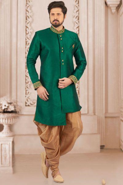 Green Art Banarasi Silk Indo Western Kurta (NMK-4046)