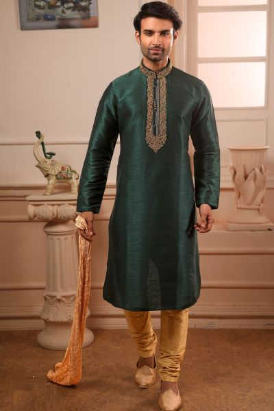 Green Art Banarasi Silk Kurta Pajama (NMK-4410)