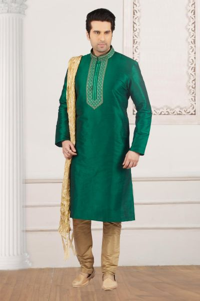Green Art Banarasi Silk Mens Kurta Pajama (NMK-4008)