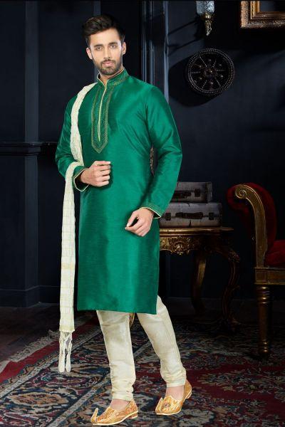 Green Art Dupion kurta Pajama (NMK-3415)