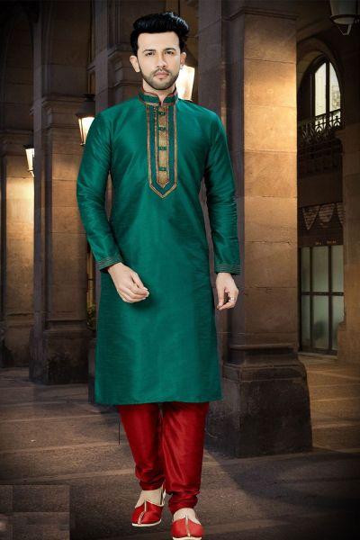 Green Art Dupion Regular Kurta Pajama (NMK-3776)