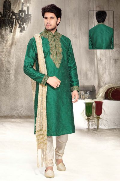 Green Art Silk Designer Kurta Pajama (NMK-2322)