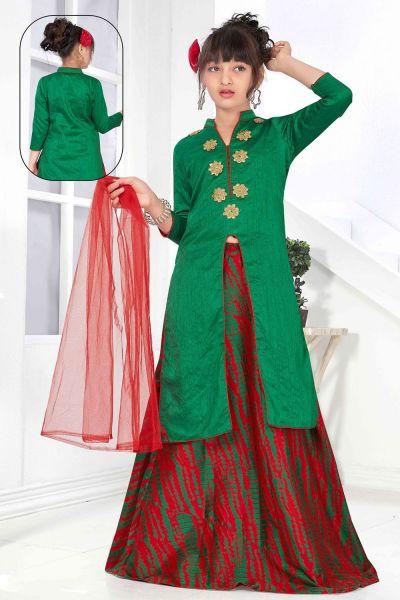 Green Art Silk Girls Lehenga Choli (NFG-151)