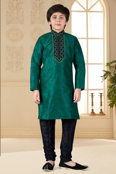 Green Art Silk Kids Kurta Pajama (NKK-659)