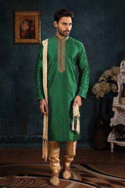 Green Art Silk Kurta Pajama (NMK-4392)