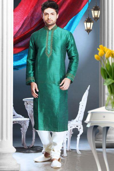 Green Art Silk Regular Kurta Pajama (NMK-1617)