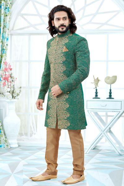 Green Art Silk Sherwani (NMK-4114)