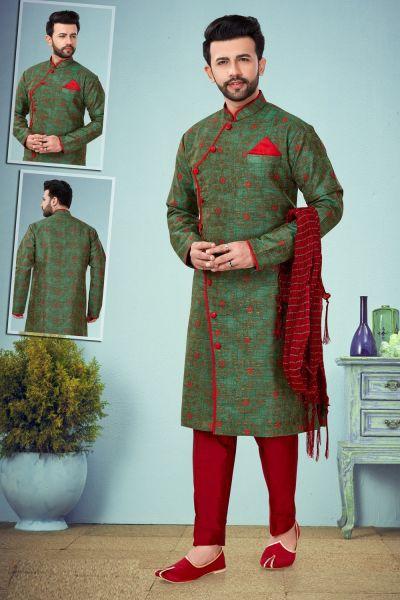 Green Banarasi Jaquard Kurta for Men (NMK-4877)