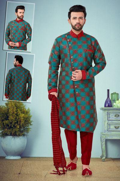 Green Banarasi Jaquard Mens Kurta Pajama (NMK-4876)