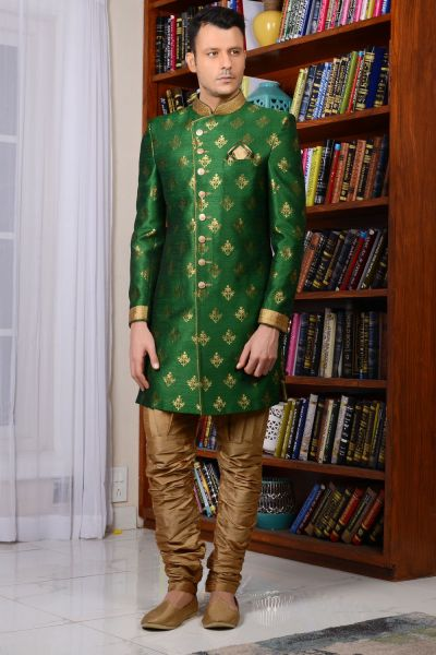 Green Banarasi Silk Brocade Indo western (NMK-3520)