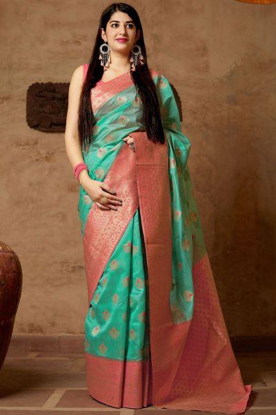 Green Banarasi Silk Party Saree (NWSA-4370)