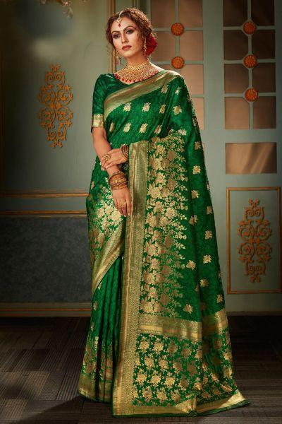 Green Banarasi Silk Saree (NWSA-5117)