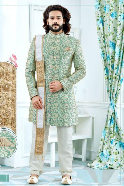 Green Banglori Silk Sherwani (NMK-4122)