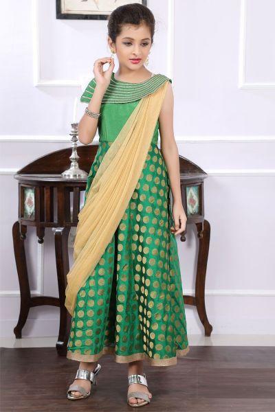 Green Brocade Girls Gown (NFG-193)