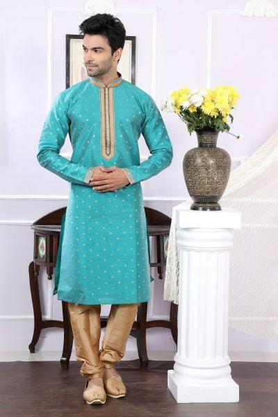 Green Chanderi Jaquard Mens Kurta Pajama (NMK-4069)