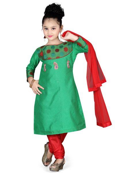 Green Cotton Girls Salwar Kameez (NFG-101)