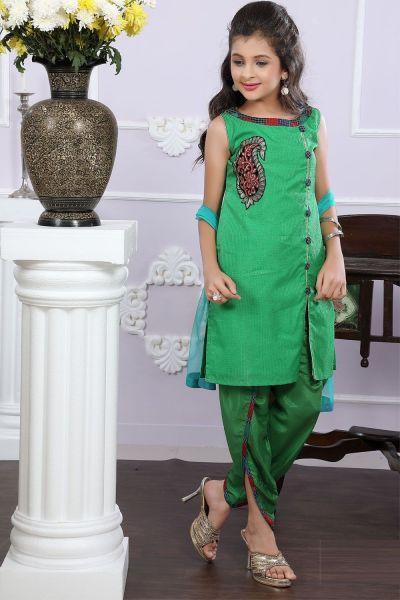 Green Cotton Girls Salwar Suit (NFG-186)